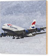 British Airways Airbus A380 Art Wood Print