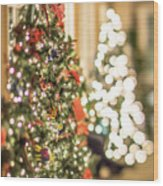Christmas Tree And Decorations With Shallow Depth Of Field Wood Print