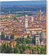 City Of Verona Old Center And Adige River Aerial Panoramic View Wood Print
