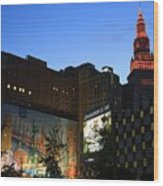 Terminal Tower And Sherwin Williams Building In Cleveland, Ohio, Usa Wood Print