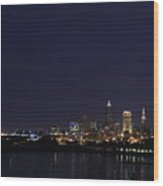 Cleveland Skyline On The Frozen Lake Erie Shore Wood Print
