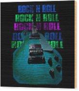 Colorful Music Rock N Roll Guitar Retro Distressed  Wood Print