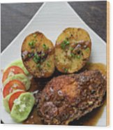 Cordon Bleu Breaded Fried Chicken Gravy And Potatoes Meal Wood Print