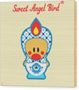 Cute Art - Blue And White Flower Folk Art Sweet Angel Bird In A Nesting Doll Costume Wall Art Print Wood Print