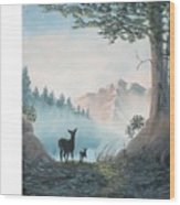 Deer In The Mist Wood Print