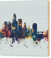 Des Moines Iowa Skyline Wood Print