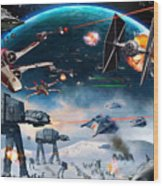 Episode 1 Star Wars Art Wood Print