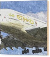 Etihad Airlines Airbus A380 Art Wood Print