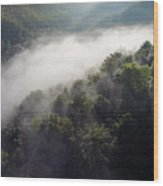 Fantastic Dreamy Sunrise On Foggy Mountains Wood Print