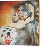 4 Feathers Indian War Pony Wood Print