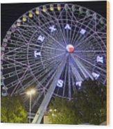 Ferris Wheel At The Texas State Fair In Dallas Tx Wood Print