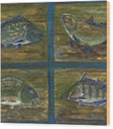 4 Fishes Wood Print