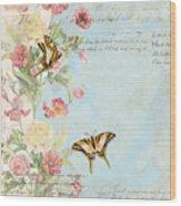 Fleurs De Pivoine - Watercolor W Butterflies In A French Vintage Wallpaper Style Wood Print