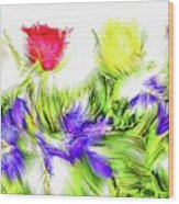 Flower Frame Border Wood Print
