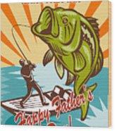 Fly Fisherman On Boat Catching Largemouth Bass Wood Print