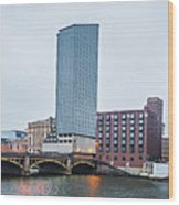 Grand Rapids Michigan City Skyline And Street Scenes Wood Print