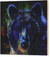 head of mighty brown bear, oil painting on canvas and graphic collage. Eye contact. Wood Print