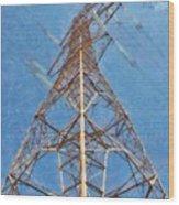 High Voltage Pylon Wood Print