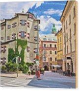 Historic Street Of Innsbruck View Wood Print
