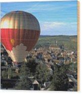 Hot Air Balloon Over Burgundy Wood Print