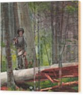 Hunter In The Adirondacks Wood Print