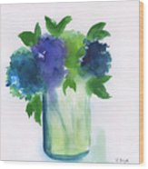 4 Hydrangeas Wood Print