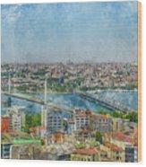 Istanbul Turkey Cityscape Digital Watercolor On Photograph Wood Print