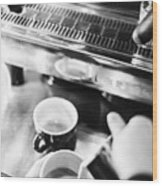 Italian Espresso Expresso Coffee Making Preparation With Machine Wood Print