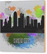 Kansas City Skyline Silhouette Wood Print