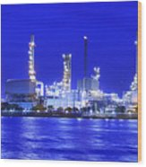 Landscape Of River And Oil Refinery Factory  Wood Print by Anek Suwannaphoom