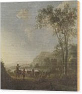 Landscape With Herdsmen And Cattle Wood Print