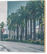 Las Vegas Nevada City Skyline And Vegas Strip At Night Wood Print