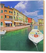 Lazise Colorful Harbor And Boats Panoramic View Wood Print