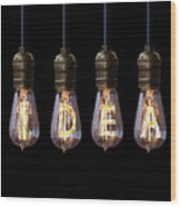 Light Bulb Background Wood Print