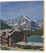 Many Glacier Hotel Wood Print