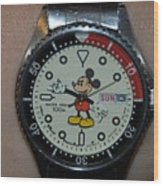 Mickey Mouse Watch Wood Print