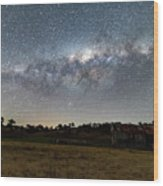 Milky Way Over A Farm Shed Wood Print