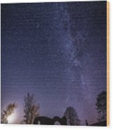 Milky Way Over The Ruins Of Strata Florida Abbey, Wales Uk Wood Print
