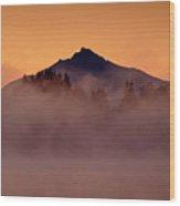 Mount Pilchuck Sunrise With Fog Wood Print