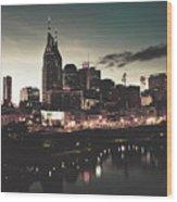 Nashville At Dusk Wood Print