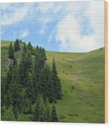 Natural Scenery With Mountains And Cloudy Sky. Wood Print