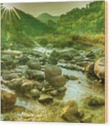 Nice River Water Flowing Through Rocks At Dawn Wood Print