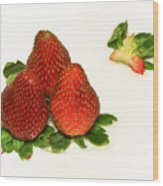 4... No... 3 Strawberries Wood Print