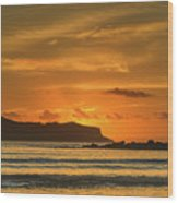 Orange Sunrise Seascape And Silhouettes Wood Print