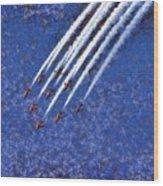 Painting Of Red Arrows Aerobatic Team Wood Print