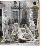 Palermo Fountain Wood Print