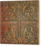 4 Panels Buddhas Wall Carving With Antique Filter Wood Print