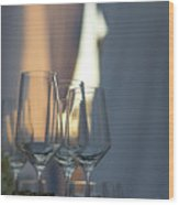 Party Setting With Bokeh Background Wood Print