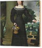 Portrait Of A Young Lady With Flower Basket Wood Print