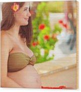 Pregnant Woman On The Beach Wood Print